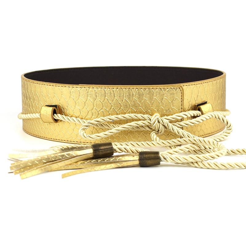 Fashion Waistbands For Women Gold Ultra Wide Dress Waist Thin Cotton Rope Tassel Bow Straps Black Knotted Cummerbunds PU Leather
