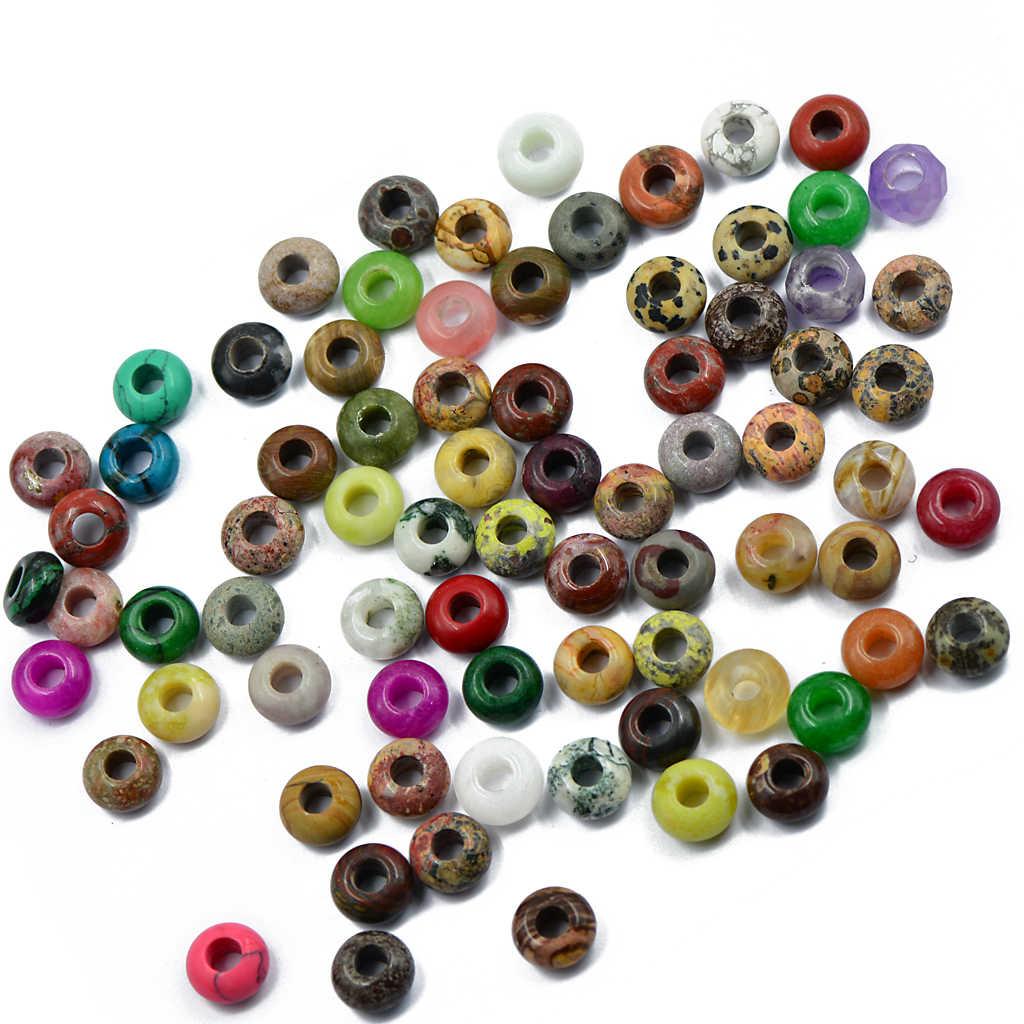 6 uds mixto gran agujero cuentas piedra preciosa de jade cuentas de jaspe joyería DIY Color al azar