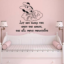 Minnie Mouse Vinyl Sticker Decal Quote Let her sleep for when she wakes will move mountains Girl Nursery Decor K526
