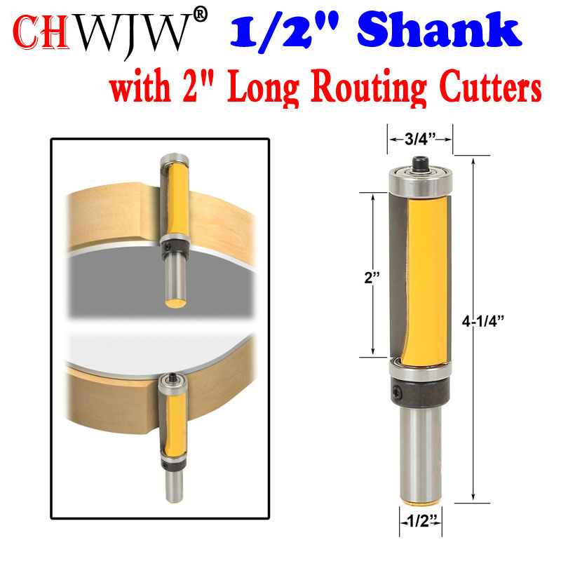 1Pc 1/2 Shank Template/Trim Router Bit, with 2 Long Routing Cutters. Features: top & bottom ball bearings Woodworking Tool 3hp 2 2kw 30000rpm iso20 3 bearings automatic tool changes atc spindles gdl80 20 30z 2 2 220vac cnc router