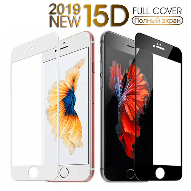 15D Curved Edge Full Cover Tempered Glass On The For iPhone 7 8 6 6S Plus Screen Protector Glass For iPhone 6 6S Plus Film Case