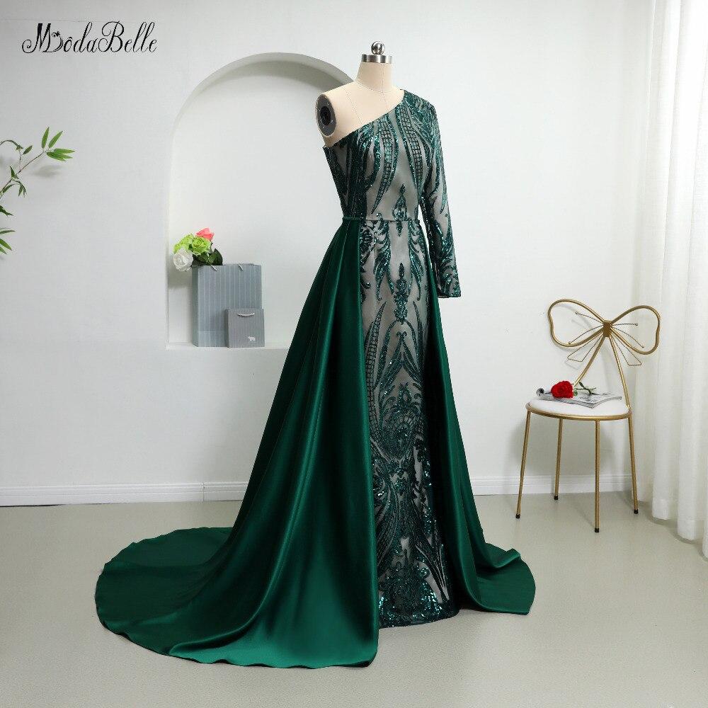 Modabelle 2019 Dark Green Sequin Avondjurken Met Afneembare Rok Saudi Arabië Een Schouder Luxe Plus Size Avondjurk - 3