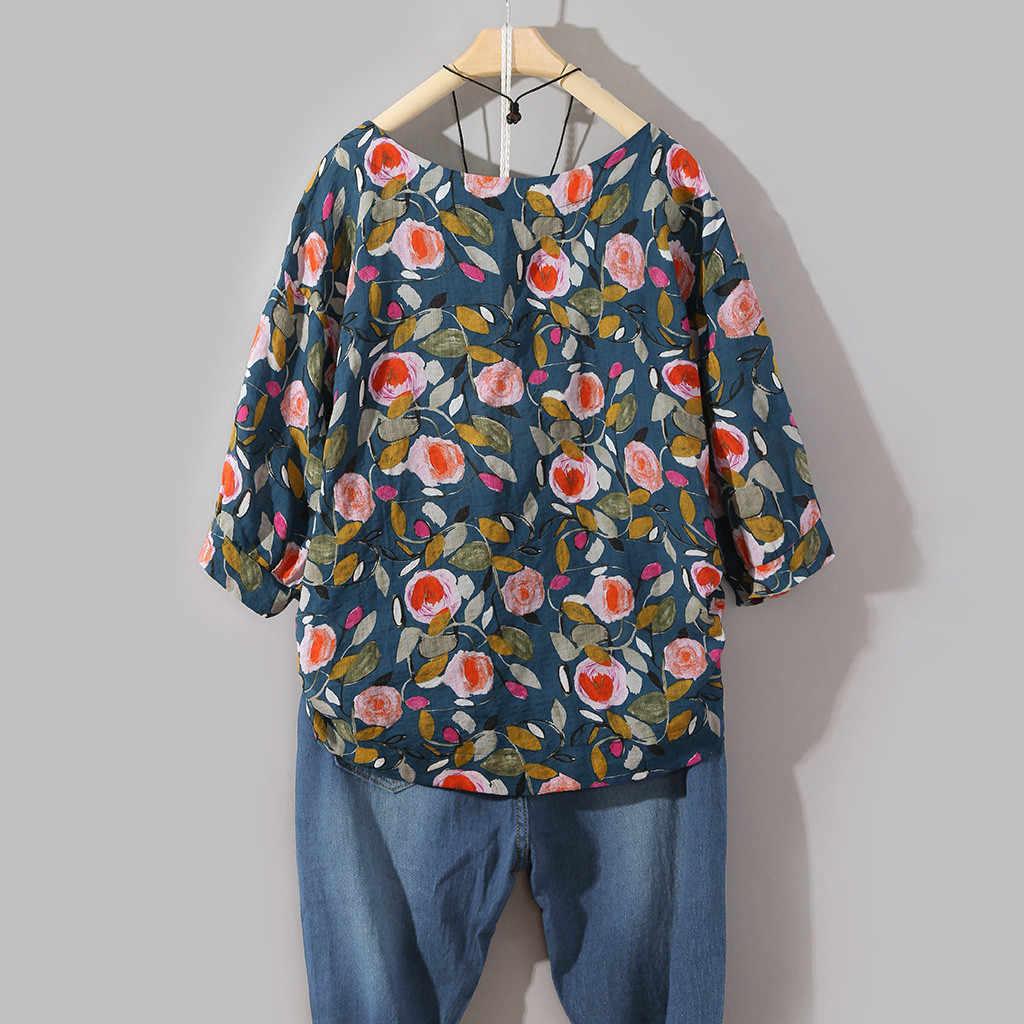 Women Casual Blouse New Fashion Streetwear Plus Size Cotton Tops Tee  Shirt Vintage Boho Floral Loose Blouse camiseta mujer