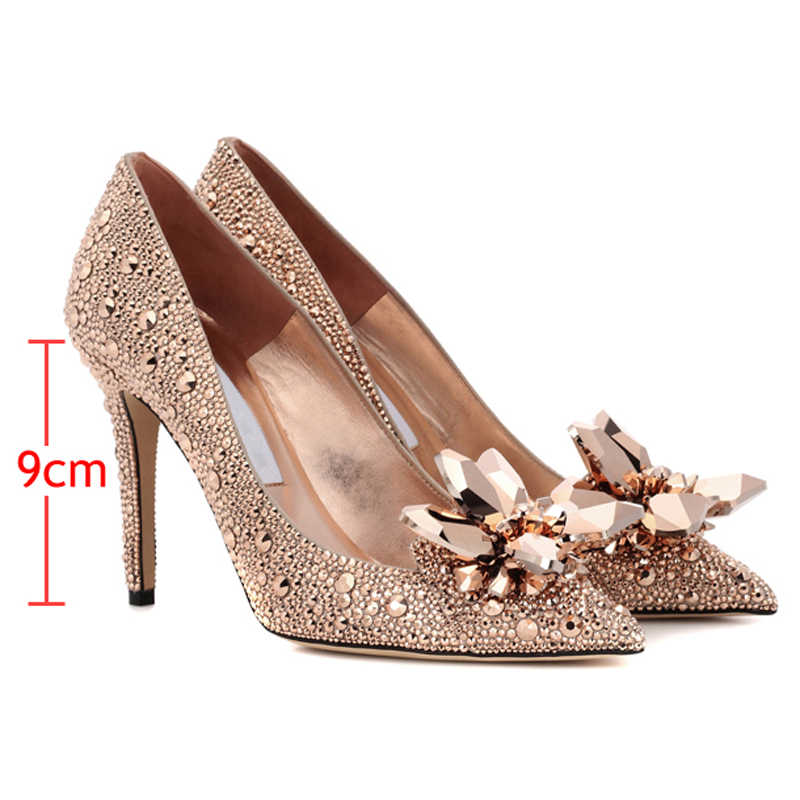 where can i buy best deals on so cheap Rose Gold Crystal Covered Pointy Toe Women Pumps Luxury Designer ...