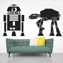Star Wars Theme Wall Decal R2D2 Walkers AT-AT Robot Vinyl Art Home Decor Boys Room Removable Mural Wallpaper Sticker A120