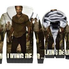 цена на The Walking Dead 3D Print Hoodie Men Rick Hooded Sweatshirt Winter Thick Fleece Warm Zip up Graphics Design Coat Fitness Jackets