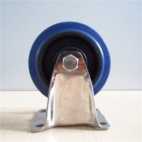 4 Inch Blue Rubber 304 Stainless Steel Fixed Wheel