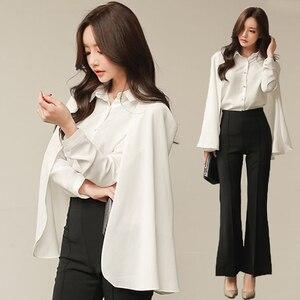 S-XXL Plus rozmiar koszule damskie rękaw dzwonek Cape bluzka szyfonowa bluzka urząd Lady elegancka koszula 2019 Camisas Mujer koszulki Femme