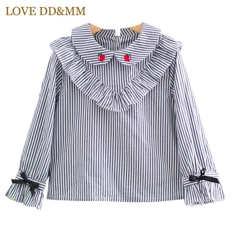 LOVE DD&MM Girl Shirts 2018 Autumn New Children's Wear Girls Fashion Striped Ruffled Doll Collar Bow Tie Long-Sleeved Shirt