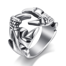 Ajojewel Size 7-12 Punk Rock Stainless Steel Crab Claw Rings For Men High Quality Party Dance Jewelry