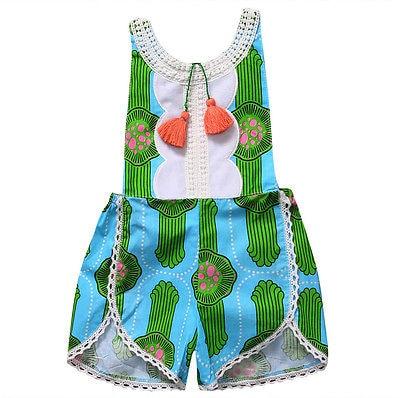 Summer 2017 Toddler Baby Girl Sleeveless Cactus Green Romper Tassel Jumper Jumpsuit Sunsuit Clothes