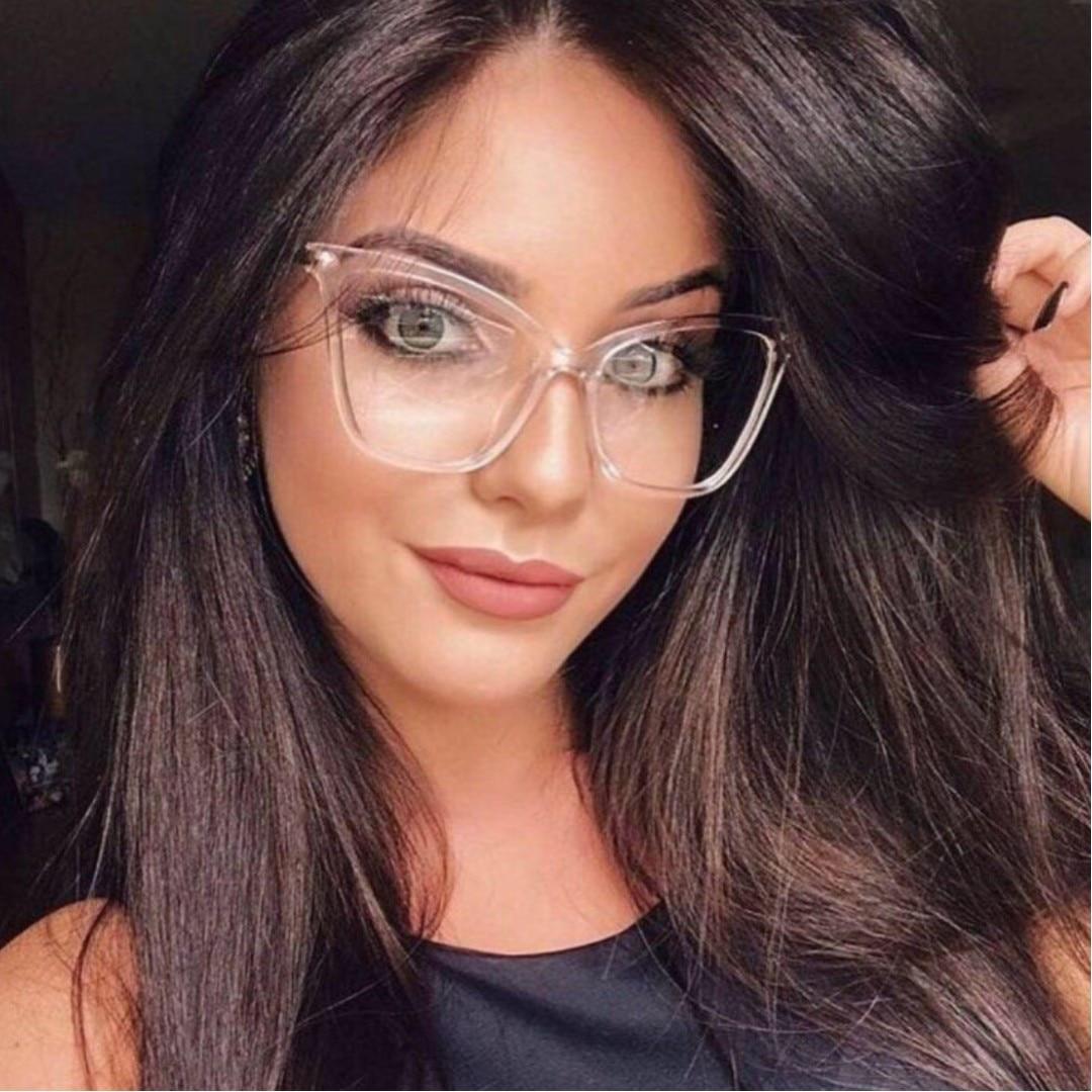 Retro Glasses Frame Women Cat Eye Eyeglasses Large Transparent Clear Eye Glasses Frames For Women 2019 Metal Leg