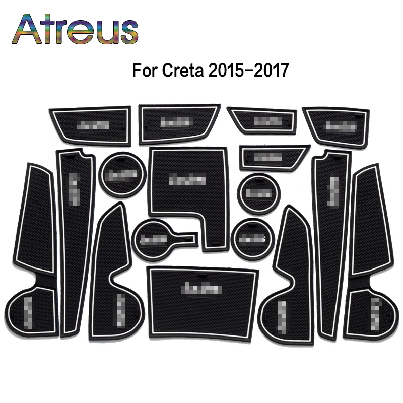 Car Interior Cup Mat Door Gate Slot Pad Stickers For Hyundai Solaris 2 Ix35 Tucson Accessories for Hyundai Creta IX25 2016 2017