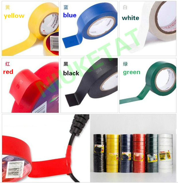 10pcs/lot 5 Color High Voltage for 3M Vinyl Electrical Tape 1500# Leaded  PVC Electrical Insulation Tape 18mm*10mm*0 13mm