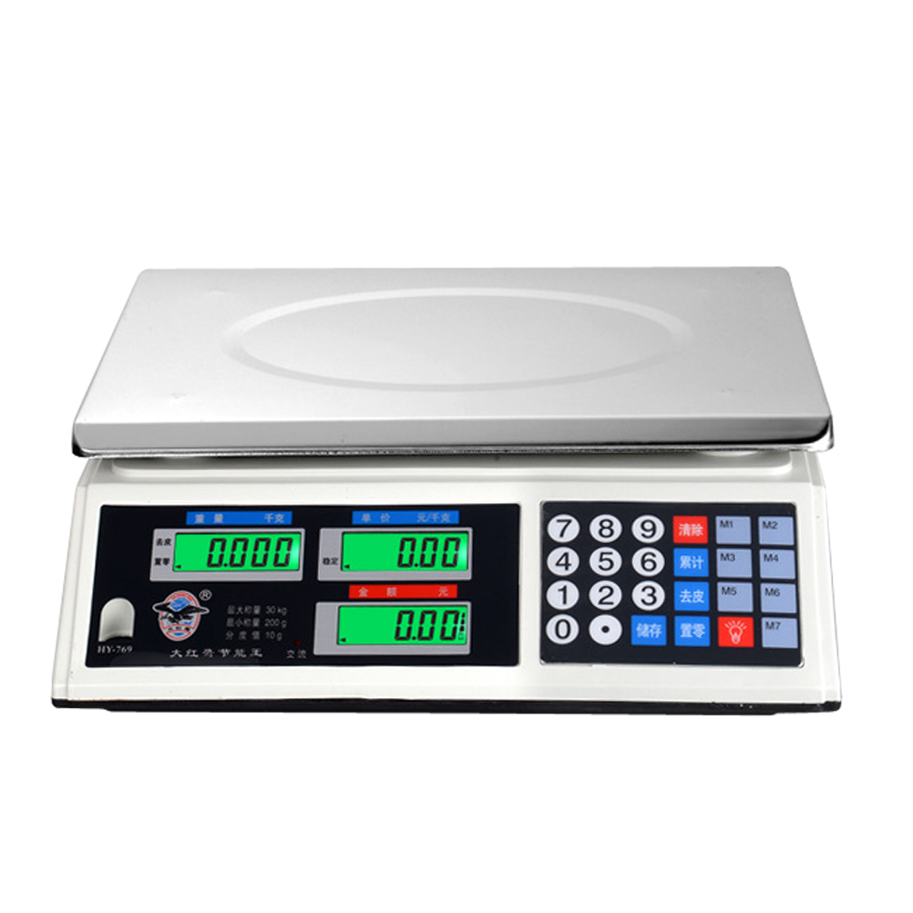 30kg Stainless Steel Electronic Kitchen Scales Digital Commercial Shop Scales Weigh Food Ingredients and Liquid (AU Plug)