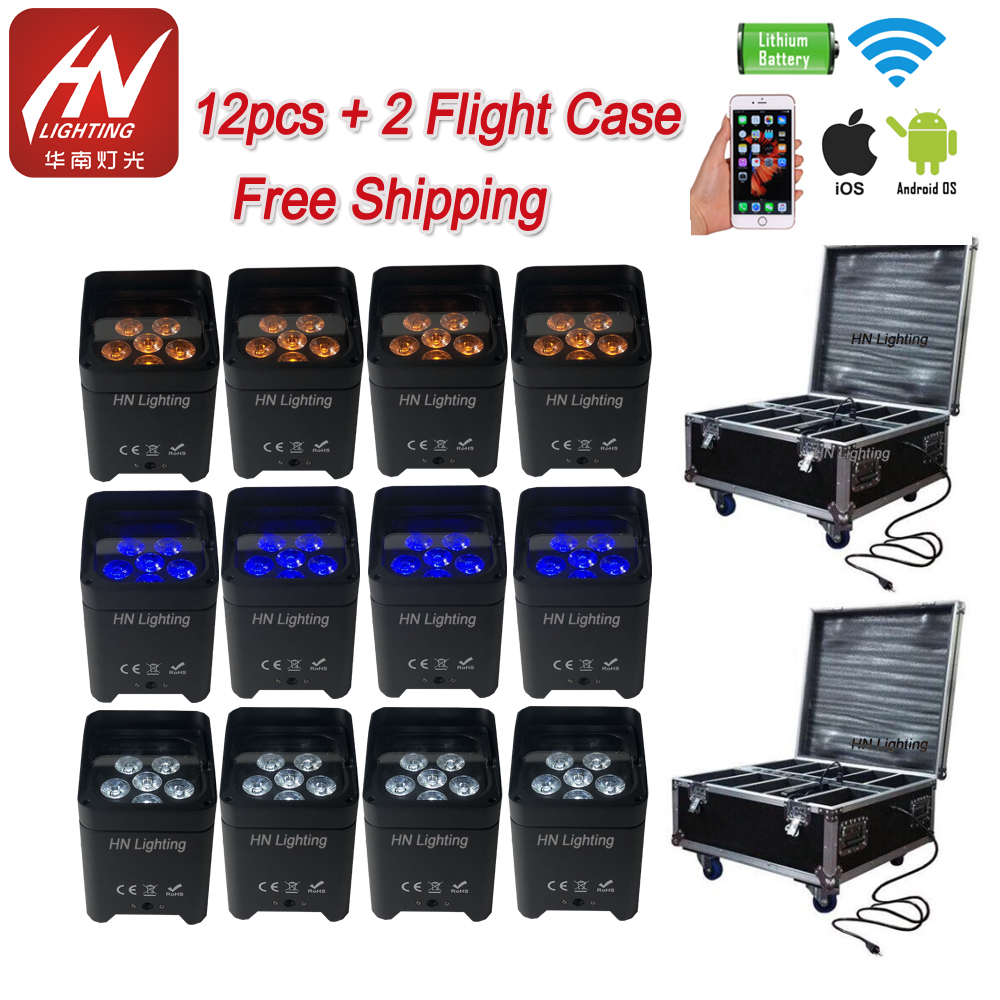 12pcs 6*18w Uplighting RGBWA UV Wireless Rechargeable Stage Lighting Battery Operated Uplight LED Par Light For Wedding Event