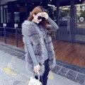 Inverno Novo Estilo Coreano Faux Pele De Raposa Colete Sem Mangas Casaco de pele Médio longo Elegante Doce Fino De Pele Grossa Jaqueta Feminina Tamanho Cinza
