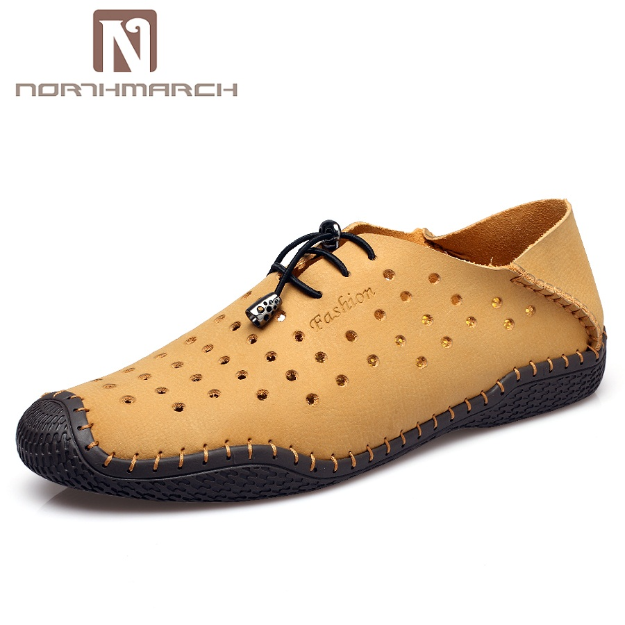 Mode Hommes jaune Northmarch D'été En Mocassins Dentelle Cuir Chaussures Casual up Respirant Nouvelle Bleu marron FXXRwq6x5