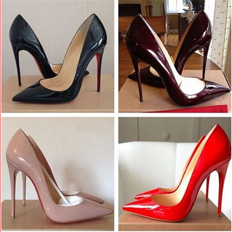 Hot Sale Women Pumps 2016 Women Shoes Beige+Red Bottom High Heels Sexy Pointed Toe Red Sole Wedding Shoes Chaussure Escarp