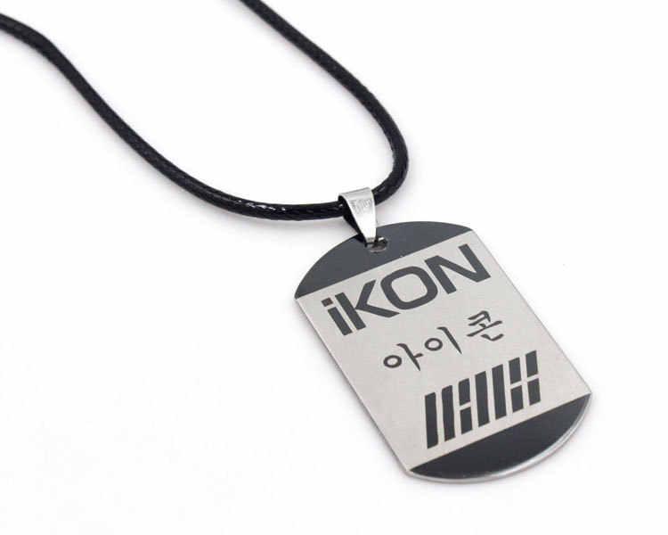 Ikon KPOP горячий студентов окружающего звезда ювелирные изделия оптом популярные корейские звезды Цепочки и ожерелья Ikon логотип K-поп K поп аксессуары