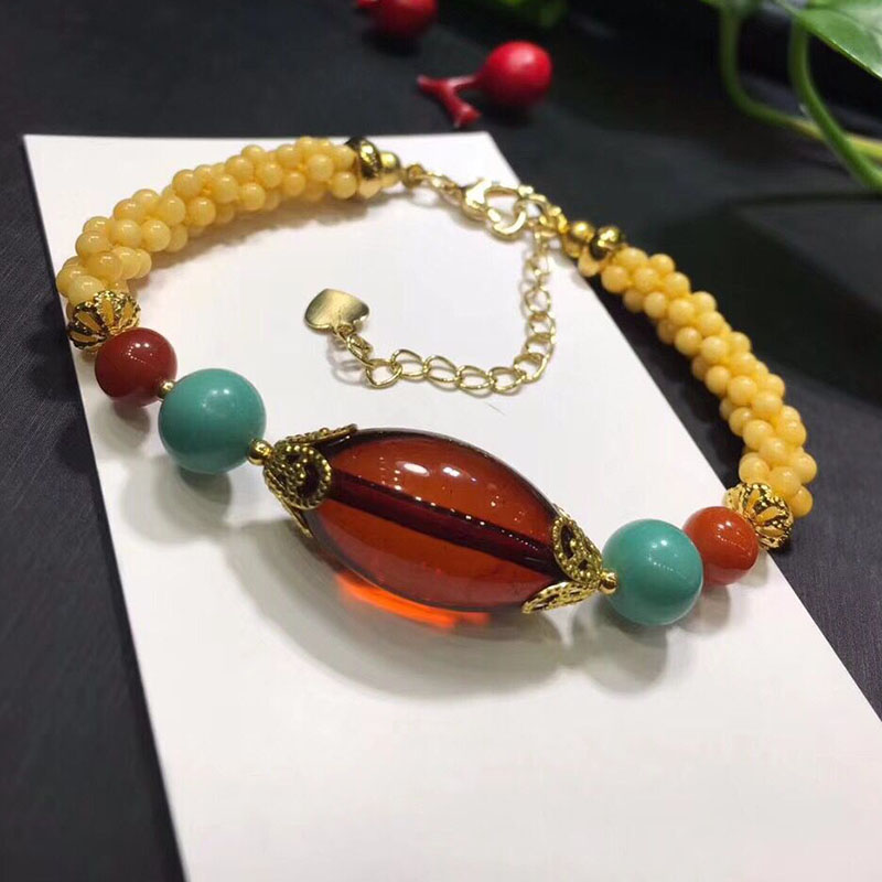 Fine JoursNeige Yellow Natural Stone Bracelets Hand Waved Beads and Red Bead Bracelet for Women Girl Noble lucky Fashion Jewelry lanzyo natural tourmaline bracelets fine jewellery fashion hand string 4mm candy bracelet wholesale sc002
