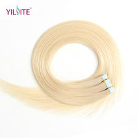 Yilite 20pcs Tape In Hair Extensions 20'' Non Remy Silky Human Hair Platinum Blonde Straight Skin Weft 7 Colors 613# P27/613#