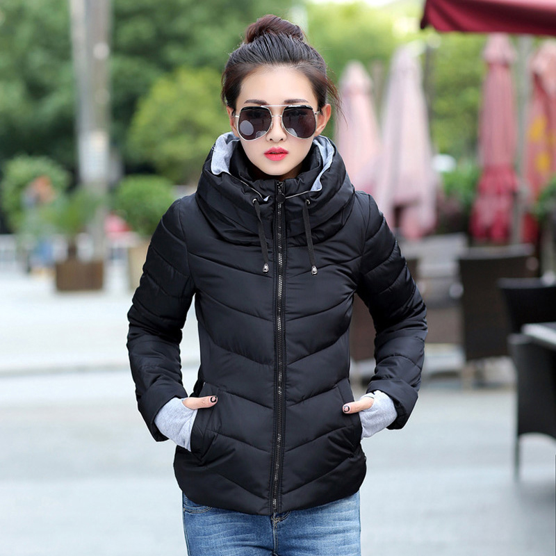 2018 hooded women winter jacket short cotton padded womens coat autumn casaco feminino inverno solid color parka stand collar hooded long printing casaco feminino inverno 2017 warm thicken cotton padded winter jacket women female coat parka women s