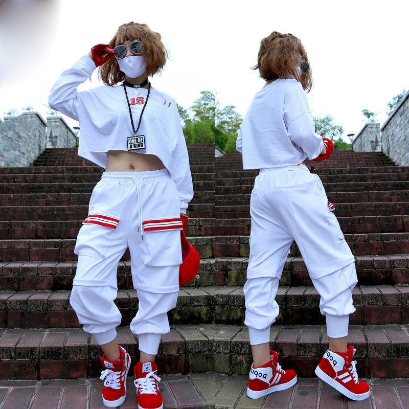 Hip Hop Dance Costume White Long Sleeve Shirt Pants Adult Street Dancing Clothes Jazz Dancer Stage Outfit Rave Wear Women DT1057