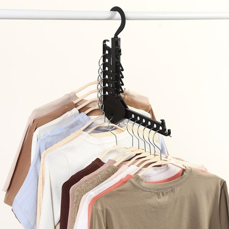 Doreen Box Creative Clothes Rack Travel Portable Folding Hangers Multifunctional Drying Racks Save Space Clothing Storage Hanger