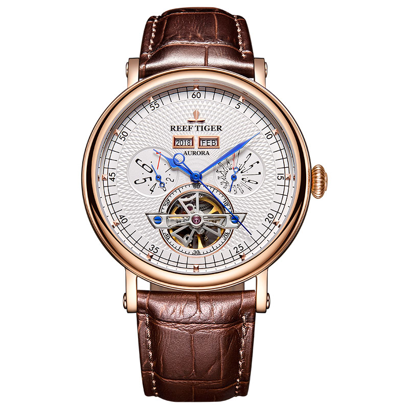 Reef Tiger/RT Top Brand Luxury Tourbillon Watches for Men Functional Watch Brown Leather Strap Automatic Wrist Watch RGA1903 機械 式 腕時計 スケルトン