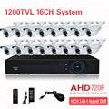 16CH AHD 720 P 1200TVL CCTV Ao Ar Livre Sistema de Câmera de Segurança HDMI 3-EM-1 Híbrido 3G WIFI DVR HVR NVR Vigilância De Vídeo Em Casa Kit