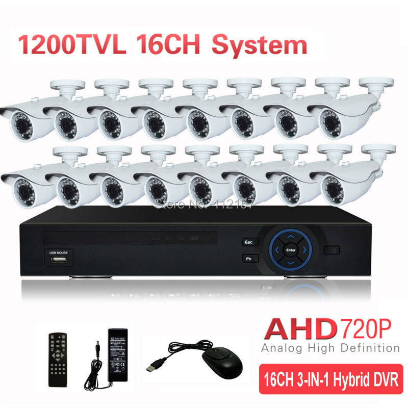 CCTV Outdoor 16CH AHD 720P 1200TVL Security Camera System HDMI 5-IN-1 Hybrid 3G WIFI DVR HVR NVR Home Video Surveillance Kit  security cctv outdoor waterrpoof 1200tvl ahd 720p camera system 4ch hdmi hybrid dvr home video surveillance kit p2p mobile view