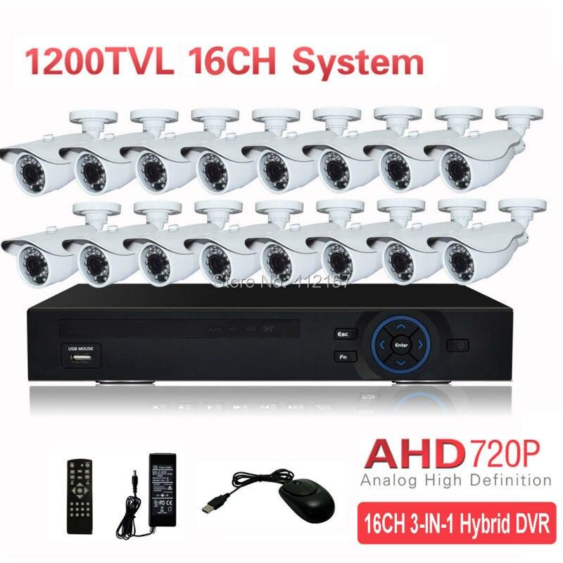 CCTV Outdoor 16CH AHD 720P 1200TVL Security Camera System HDMI 5-IN-1 Hybrid 3G WIFI DVR HVR NVR Home Video Surveillance Kit