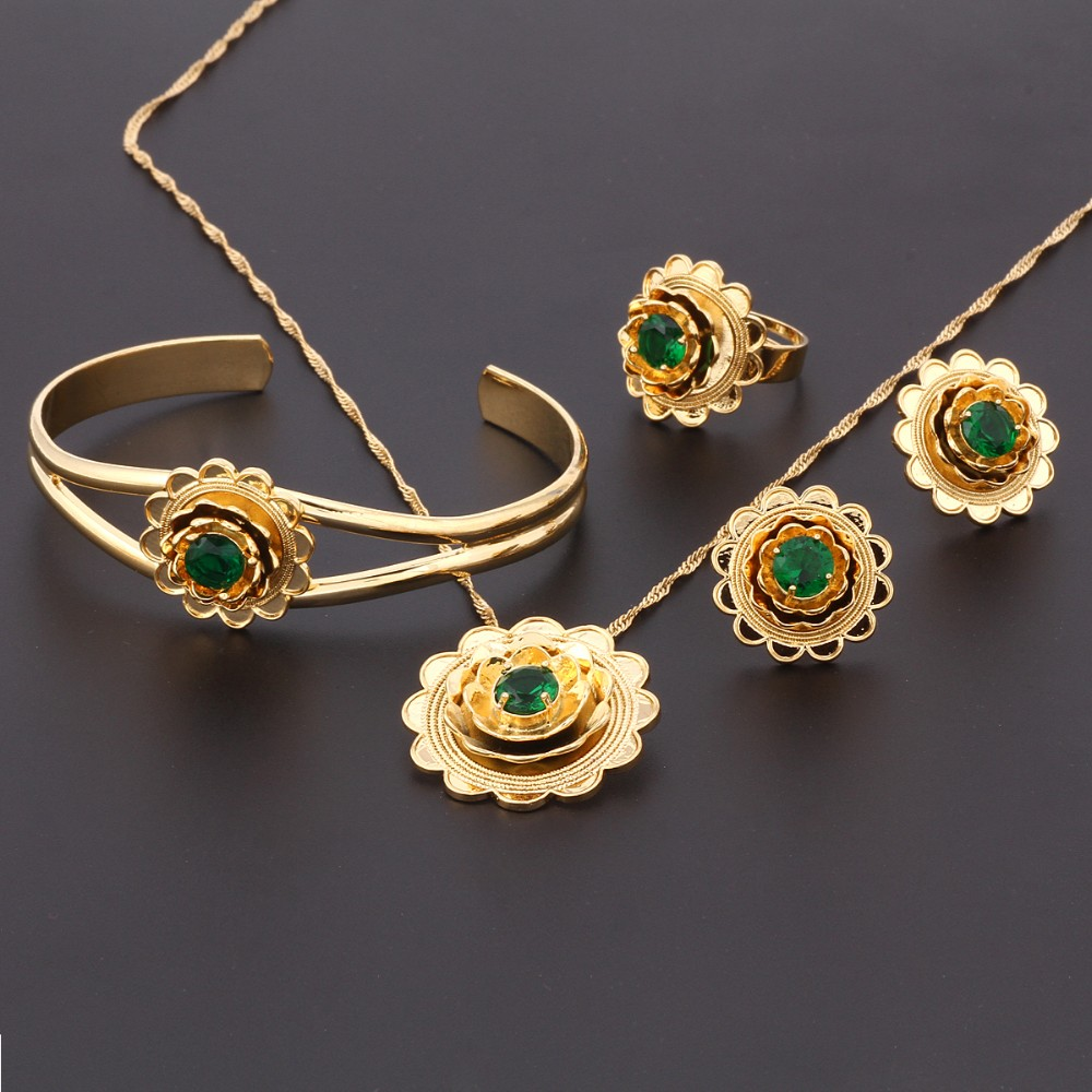 New Ethiopian Gold Flowerset Jewelry Pendant Necklace Bangle Earrings Ring 24k Cz Habesha African Wedding