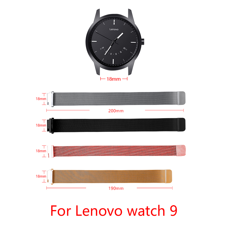 Band Width 18MM Milanese Loop Strap For Lenovo Watch 9 Magnetic Buckle Adjustable Size Smart Watch Replacement Sports Strap