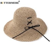 BUTTERMERE Straw Beach Hat Women Folding Camel Sun Hats Ladies Self Tie Bowknot Female Elegant Wide Brim 10cm Summer UV