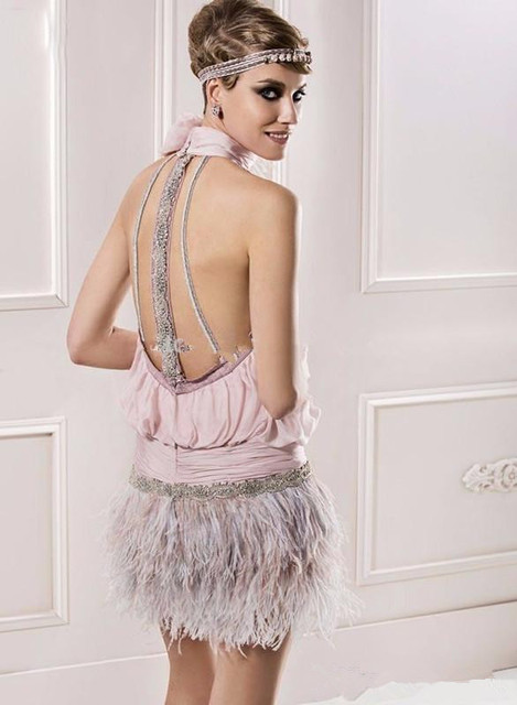 Pink 2019 Elegant Cocktail Dresses Sheath Halter Chiffon Feather Beaded Elegant Short Homecoming Dresses 1