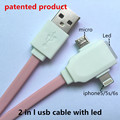 2 in 1 led usb cable Charging and data sync Applicable to otg usb micro usb  cable 3.5mm riphone cable aux telefoni originali