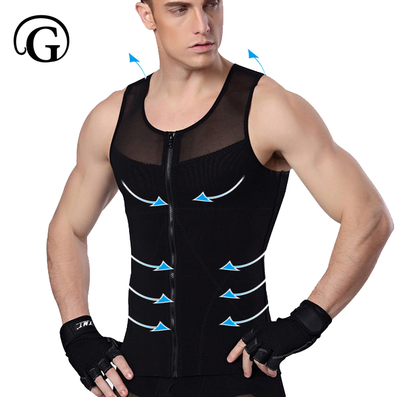 Men Shaper PRAYGER Gynecomastia Corset For Man Slimming Waist Trimmer Zipper Body Shapers Control Belly Tank Tops Abdominal Vest