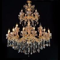 Gratis Verzending Golden Crystal Kroonluchter Verlichting D110cm 28L Cristal Lustres Lichtpunt Kroonluchter Crystal voor Hotel Project