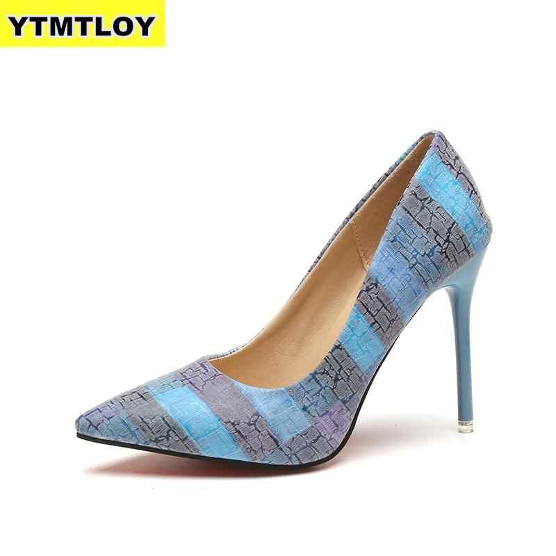 Plus Size 34-42 2019 Nhiều Màu Nữ Bơm Giày Cao Gót Giày Đơn Nữ Mùa Hè Bằng Sáng Chế Da Tiệc Cưới người phụ nữ Võ Sĩ Giác Đấu