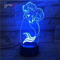 YIMIA Cute Mermaid 3D Illusion 7 Colorful Lamp Acrylic Remote LED Night Light USB Table Desk
