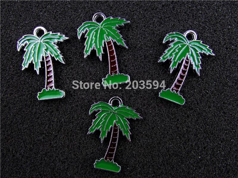 AE458 Mix Color 20Pcs Alloy Metal Enamel Coconut trees Charms Pendants 27x19mm