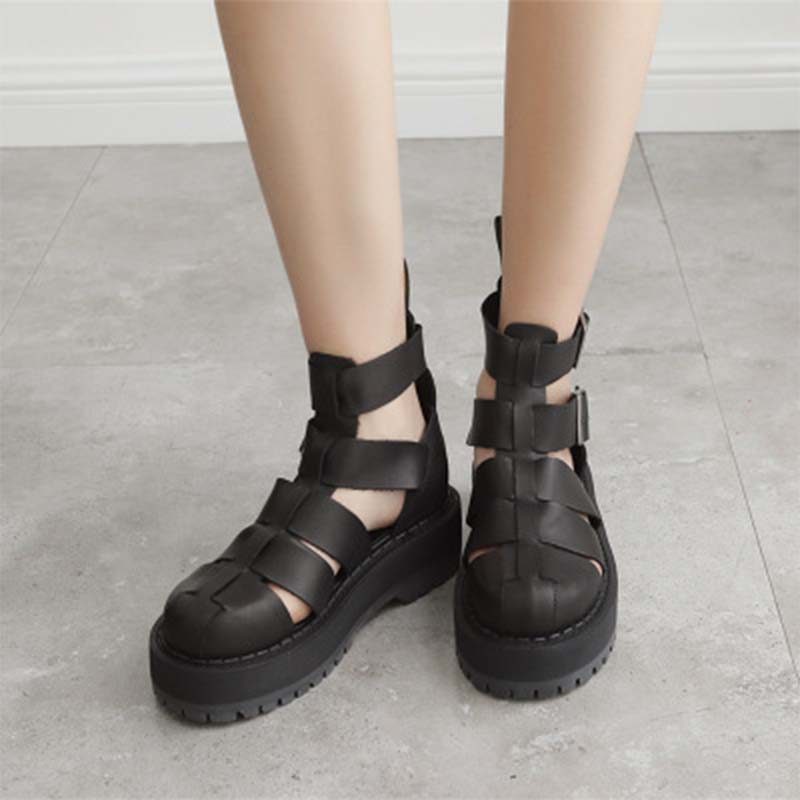 a4dcd957b5 Fashion Casual Women Comfy Platform Sandal Shoes Wedge Hollow Leather With Buckle  Strap Solid Black Gladiator