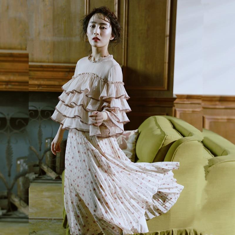 Apricot Para Mujer Estampado Vintage Falda Otoño Floral Con Primavera zxw8gnSqBn