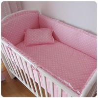 Discount! 6pcs cartoon crib set baby winter bumpers suits baby crib set ,include (bumper+sheet+pillowcase)