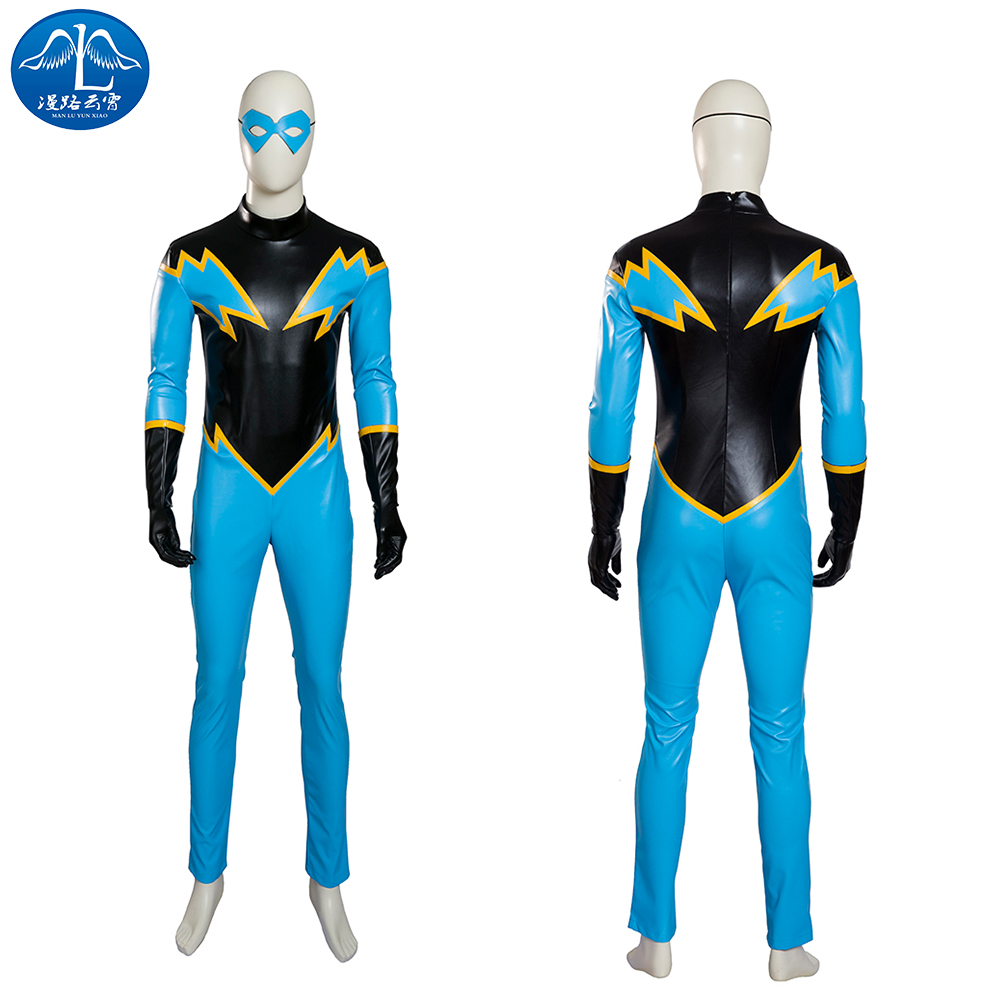 ManLuYunXiao 2017 Cosplay Costume Black Lightning Cosplay Justice League Cosplay Mens Jumpsuit Custom Made Free Shipping