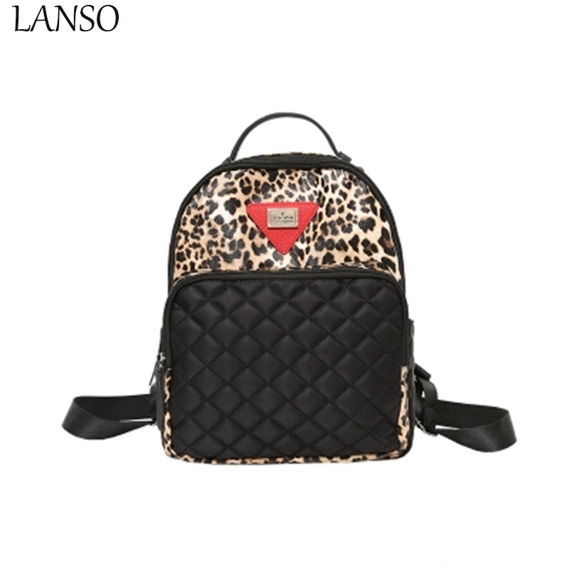 Drop Shipping Fashion College Grid Embroidered Shoulder Bag Female Backpack Students High Middle School Backpacks For