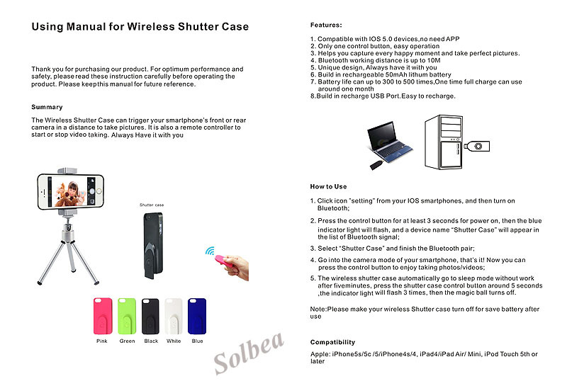 5pc Wireless Bluetooth Camera Selfie Photo Shutter Release Self Timer Case  for iPhone 5 5S Shutter Case free shipping freetrack-in Shutter Release