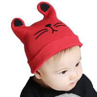2017 Fashion Winter Korean Newborn Baby Hat Knitted Wool Children Cap Cat Claw Baby Cap